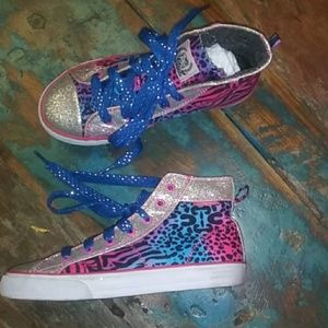 Other - Sparkly animal print high top grls sz 1 sneaker